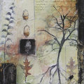 Mixed media painting with leaves and tree bare oak acorns both drawn photos textured acrylic paint layered style Stock Photo