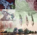 Mixed media painting of trees and leaves Royalty Free Stock Photo