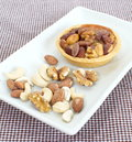 Mixed nut tart photo of Royalty Free Stock Image