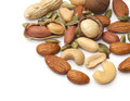 Mixed nut on the white background Stock Images