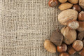 Mixed Nuts and Burlap Stock Image