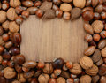 Mixed nuts frame a wooden background walnuts brazils chestnuts pecans and hazelnuts border Stock Photo
