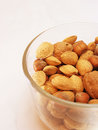 Mixed nuts in glass dish Royalty Free Stock Image