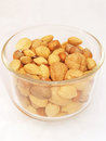 Mixed nuts in glass dish Royalty Free Stock Images
