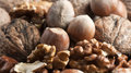 Mixed nuts and hazelnuts conceptual photo of Royalty Free Stock Photography