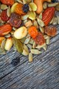 Mixed nuts healthy snack for hiking and trekking with cashew raisins and almond Royalty Free Stock Image