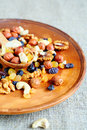 Mixed nuts on platter food healthy Royalty Free Stock Photography