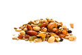 Mixed nuts and raisin on a white background Royalty Free Stock Photo