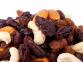 Mixed nuts and raisins Royalty Free Stock Photo