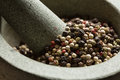 Mixed peppercorns in mortar with pestle Stock Photos