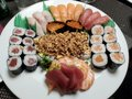 Mixed sushi `boat` at japanese restaurant Royalty Free Stock Photo