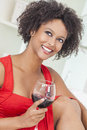 Mixed Race African American Girl Drinking Red Wine Royalty Free Stock Photos