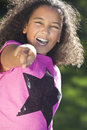 Mixed Race African American Girl Smiling Pointing Royalty Free Stock Photos
