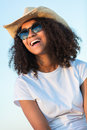 Mixed Race African American Girl Teen Sunglasses Perfect Teeth Royalty Free Stock Photo