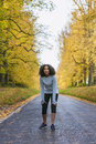Mixed Race African American Girl Teenager Fitness Running Royalty Free Stock Photo