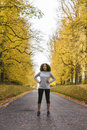 Mixed Race African American Woman Teenager Fitness Running Royalty Free Stock Photo
