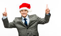 Mixed race businessman celebrating christmas isolated on white b Stock Photography