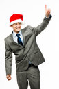 Mixed race businessman celebrating christmas isolated on white b Royalty Free Stock Photography