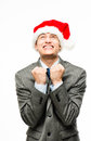 Mixed race businessman celebrating christmas isolated on white b Royalty Free Stock Photos
