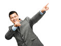 Mixed race businessman celebrating success isolated on white bac happy young smiling Stock Photography