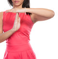 Mixed race woman showing time out gesture sign. Royalty Free Stock Photo