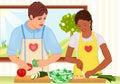 Mixto raza joven cocinar fresco