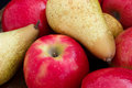 Mixed red apples and pears Royalty Free Stock Photo
