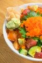 Mixed rice bowl with fresh salmon Royalty Free Stock Photo