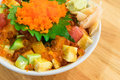 Mixed rice bowl with fresh salmon Royalty Free Stock Photo