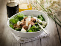 Mixed salad with  spinach and tuna Stock Photo