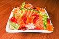 Mixed sashimi in white plate Stock Photo