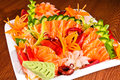 Mixed sashimi in white plate Stock Images