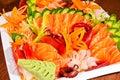 Mixed sashimi in white plate Royalty Free Stock Photo