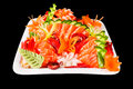 Mixed sashimi in white plate Royalty Free Stock Images