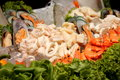 Mixed seafood on ice shrimp to mussels Royalty Free Stock Photos