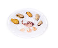 Mixed seafood plate on a white background Royalty Free Stock Photos