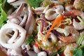 Mixed seafood salad in dish the thai food made form shrimp fish shellfish squid and assorted vegetables Royalty Free Stock Images