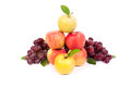 Mixed set of fresh raw ripe fruits apple grape on isolated white background Stock Image