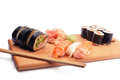 Mixed sushi on the plate white background Stock Photos