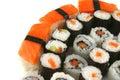 Mixed sushi types on white Stock Image