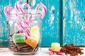 Mixed sweets in the glass jar Royalty Free Stock Photo