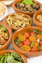 Mixed tapas a selection of dishes in traditional bowls Stock Photos
