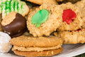Mixed tray or platter of homemade cookies a plate with several different kinds sweets Stock Photo