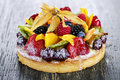 Mixed tropical fruit tart Royalty Free Stock Photos