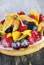 Mixed tropical fruit tart Stock Photography
