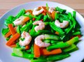 Mixed vegetable fried with oyster sauce Stock Photo