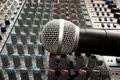 Mixer and microphone Royalty Free Stock Photo