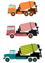 Mixer truck concrete mixers on trucks in retro style on a white background Royalty Free Stock Image