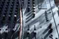 Mixing console analofue with cables input and output in details close up Royalty Free Stock Images