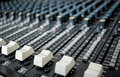 Mixing desk fader switches Royalty Free Stock Photo